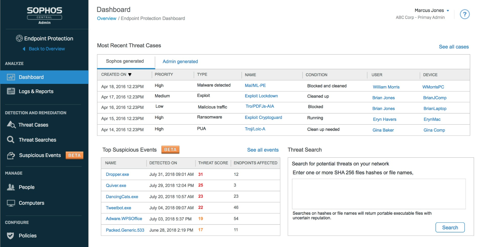 sophos end point protection